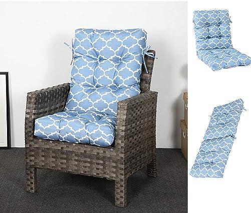 Moonase Outdoor High Back Patio Chair Cushion Indoor Outdoor Sofa Chair Cushion with Ties Waterproof Four Seasons Universal Non-Slip Tatami Cushion Sofa Chair Cushion Blue Print