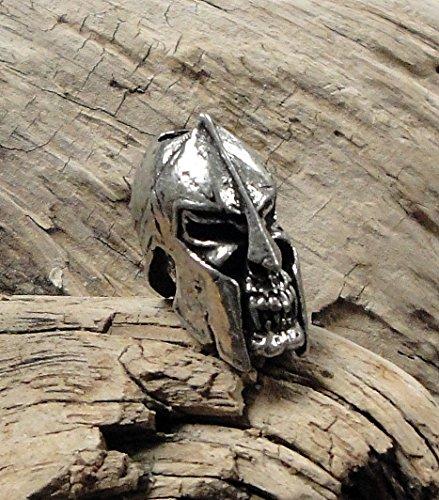 Schmuckatelli Spartan Skull Knife Lanyard Bead Keychain Fob Paracord Pewter