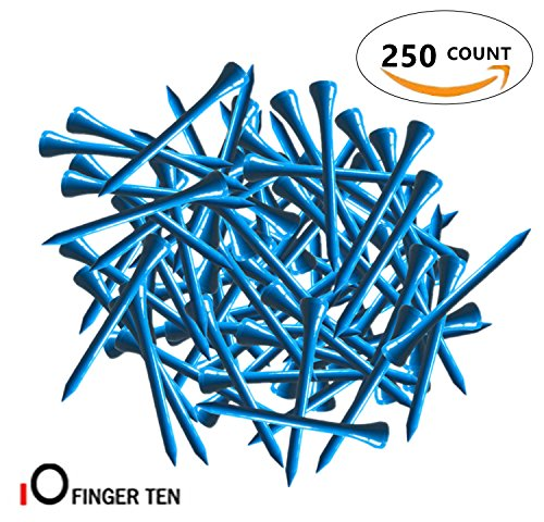 2 3/4 inch Wood Color Bulk 250 500 1000 Count, with Free Deluxe Golf Tee Holder and Ball Marker for Men Women Kids (Blue, 250 Count+ Tee Holder) (Golf Ball Tee Height)