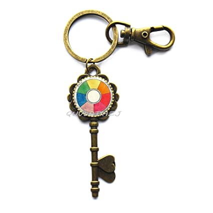 Amazon Com Fashion Color Wheel Key Keychain Artists Key Key Ring