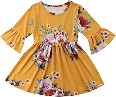 UK Toddler Baby Girl Flower Rose Casual Party Summer Dress Sundress Clothes 1-6Y