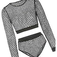 Jojckmen Women Sexy Black Lace Hollow Fishnet Tight Lingerie Bodysuit Crop Top Brief Set for Night Club