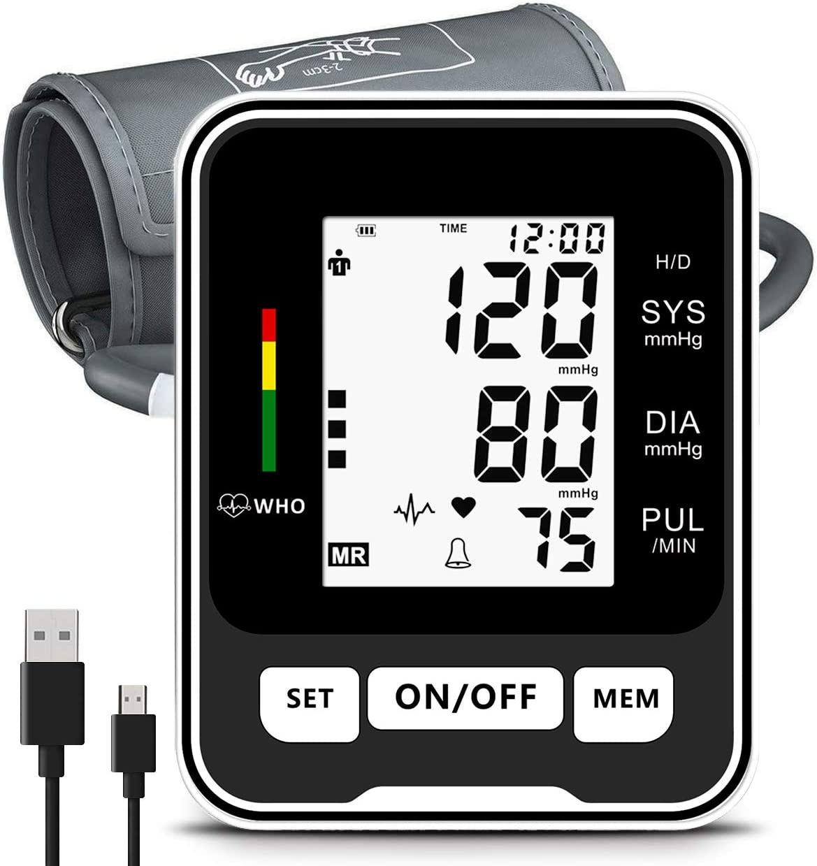 Blood Pressure Monitor for Upper Arm,Fast Reading Health Monitor with LCD Display and Voice Function for Home Use,44cm Replacement Blood Pressure Monitor Cuff,Storage Travel Case