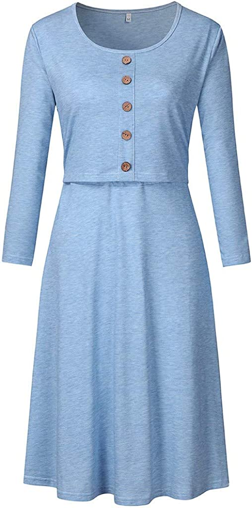 Women Maternity Casual Long Sleeve Button Nursing Dress for Breastfeeding ZOMUSAR Maternity Dress