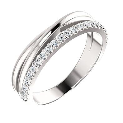 Amazon Com 0 55 Ct Ladies Round Cut Diamond Wedding Criss Cross