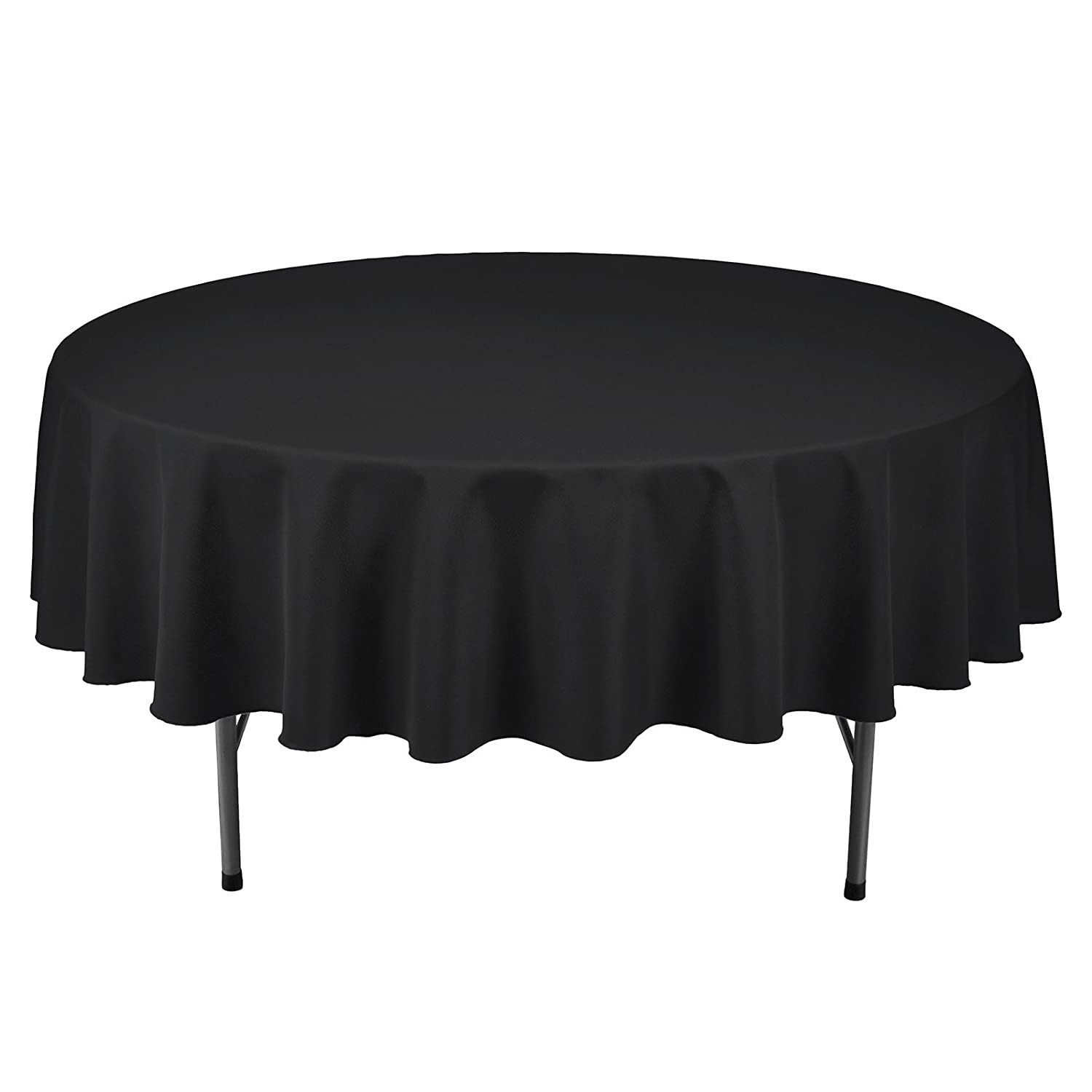 VEEYOO Tablecloth 90 inch Round Solid Polyester Table Cloth for Wedding Restaurant Party Kitchen Dining Table Christmas, Black