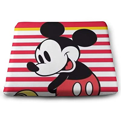 Mickey Mouse Happy Time Square Cushion Thick Large Soft Mat Floor Pillow Seating for Home Decor Garden Party for Chair Pads 15x13.7x1.2Inch: Office Products