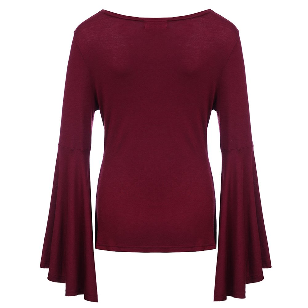 Stephaee Womens V Neck Ruched Twist Knot Front Long Sleeve Tunic Torch Tunik Women Burgundy Maroon Xl Top Blouse Clothing