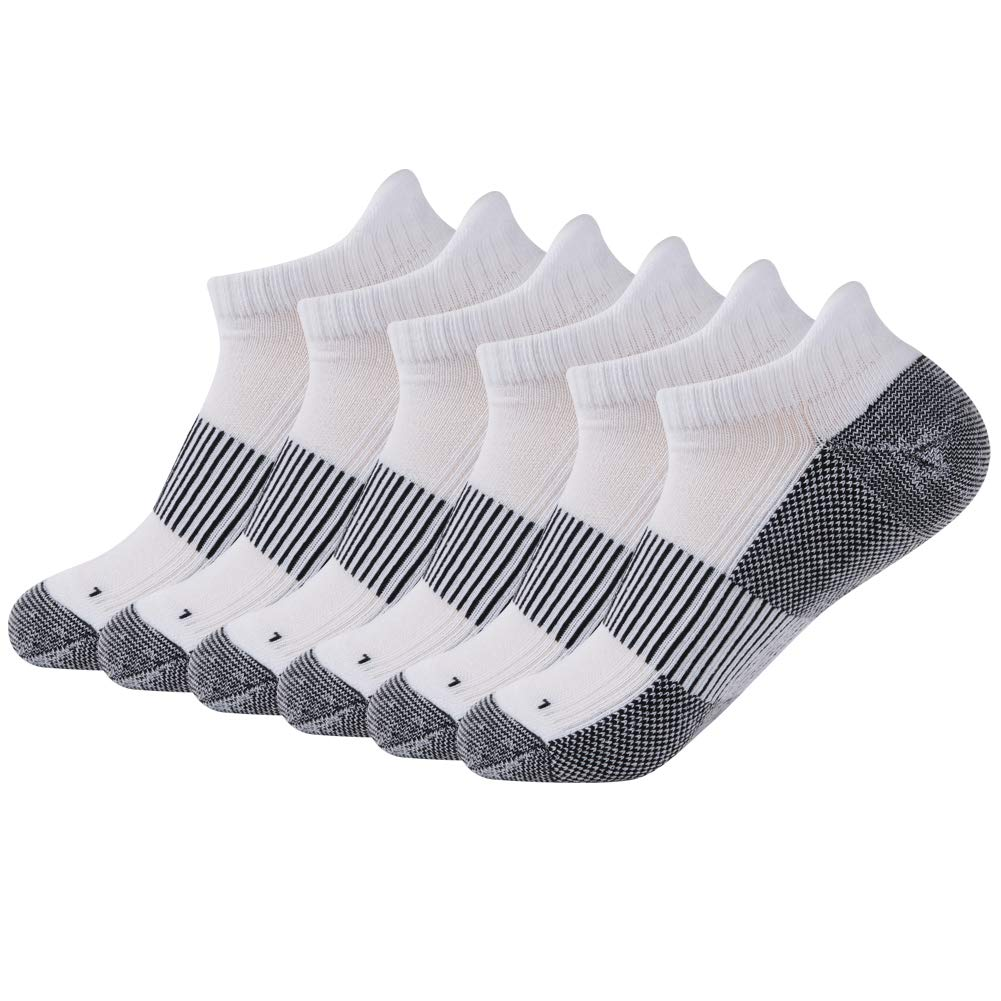 FOOTPLUS Unisex Copper Antibacterial Anti Odor Non Slip Arch Support Light Cushioned Breathable Running Jogging Basketball Golf Socks, 6 Pairs White& Black, Large by FOOTPLUS
