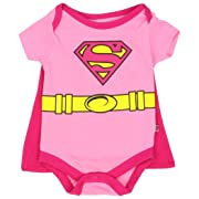 Supergirl Infant Baby Girls  Creeper Onesie Bodysuit Snapsuit  With Cape (0-3 mo., Pink)