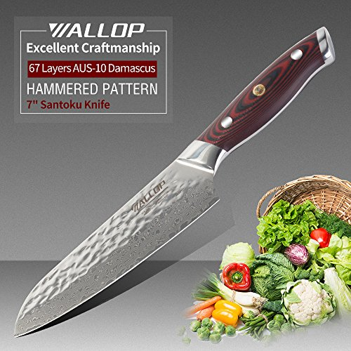 WALLOP Vampire Series 7' Japanese Damascus Santoku Knife with 67 Layers AUS-10 Damascus Stainless Steel,Hammered Pattern,Reddish Black G10 Handle,Salad Vegetable Chopper Cutter Knife,Chef's knife