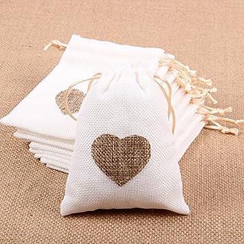 Amazon.com: Junxia bolsas de arpillera con cordón bolsas de ...