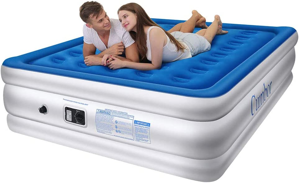 Cumbor Luxury Queen Air Mattress with Built-in Pump, Best Camping Mattress For Couples