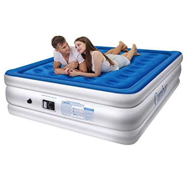 Cumbor Luxury Queen Air Mattress with Built-in Pump, Best Inflatable Airbed with Structured Air Coil Technology - 18  Double Height, 0.45mm Extra Thick Elevated Raised Air Mattress