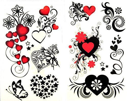 GRASHINE Look like real 1 package with 2pcs waterproof red heart black star flower and butterfly fake and realistic temporary tattoos]()