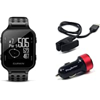 PlayBetter Garmin Approach S20 (Black) Golf GPS Watch USB Car Charge Adapter | Activity Tracker, Smart Notifications & 40,000+ Worldwide Courses