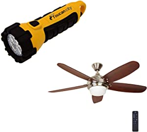 Toucan City LED Flashlight and Home Decorators Collection Breezemore 56 in. LED Brushed Nickel Ceiling Fan with Light Kit and Remote Control 51558