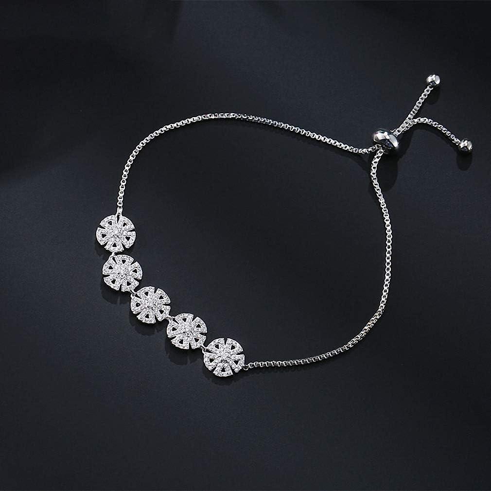 Giwotu Womens Bracelets Flower Adjustable Charm Bracelets for Women Crystal Round Charm Wedding Party Jewelry Fsbp2080