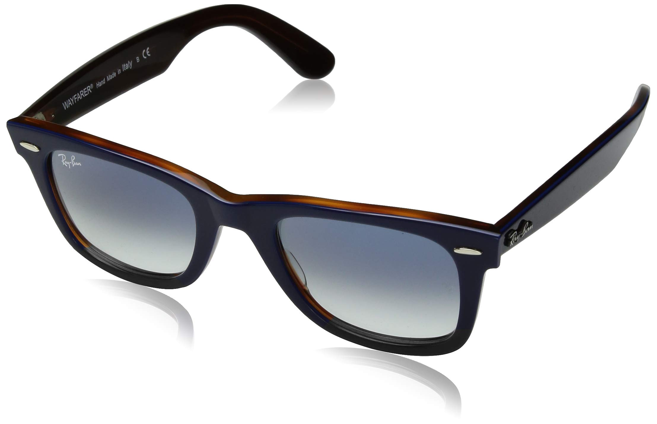 Ray-Ban RB2140 Wayfarer Sunglasses, Blue On Red Havana/Blue Gradient, 50 mm by RAY-BAN