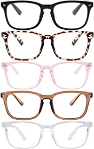 Blue Light Blocking Glasses,Square Nerd Eyeglasses Frame Anti Blue Ray Computer Game Glasses Anti Eyestrain & UV(5Pcs)