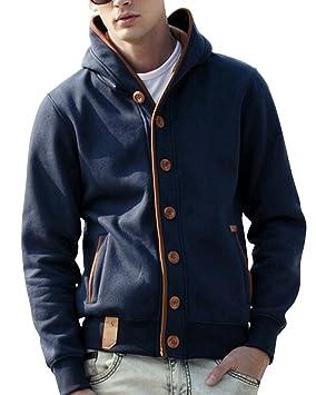 LaoZan Hombre Abrigo Chaqueta Sudadera con Capucha Blusa Sudor Camisa - Azul - XX - Large