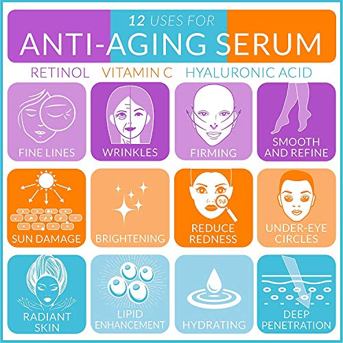 ArtworkNaturals Anti-Aging-Set with Vitamin-C Retinol and Hyaluronic-Acid - (3 x 1 Fl Oz / 30ml) Serum for Anti Wrinkle and Dark Circle Remover – All Natural and Moisturizing