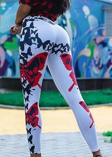 Etecredpow Womens Yoga Stretchy Skinny High Waisted Printed Vogue Athletic Legging White L