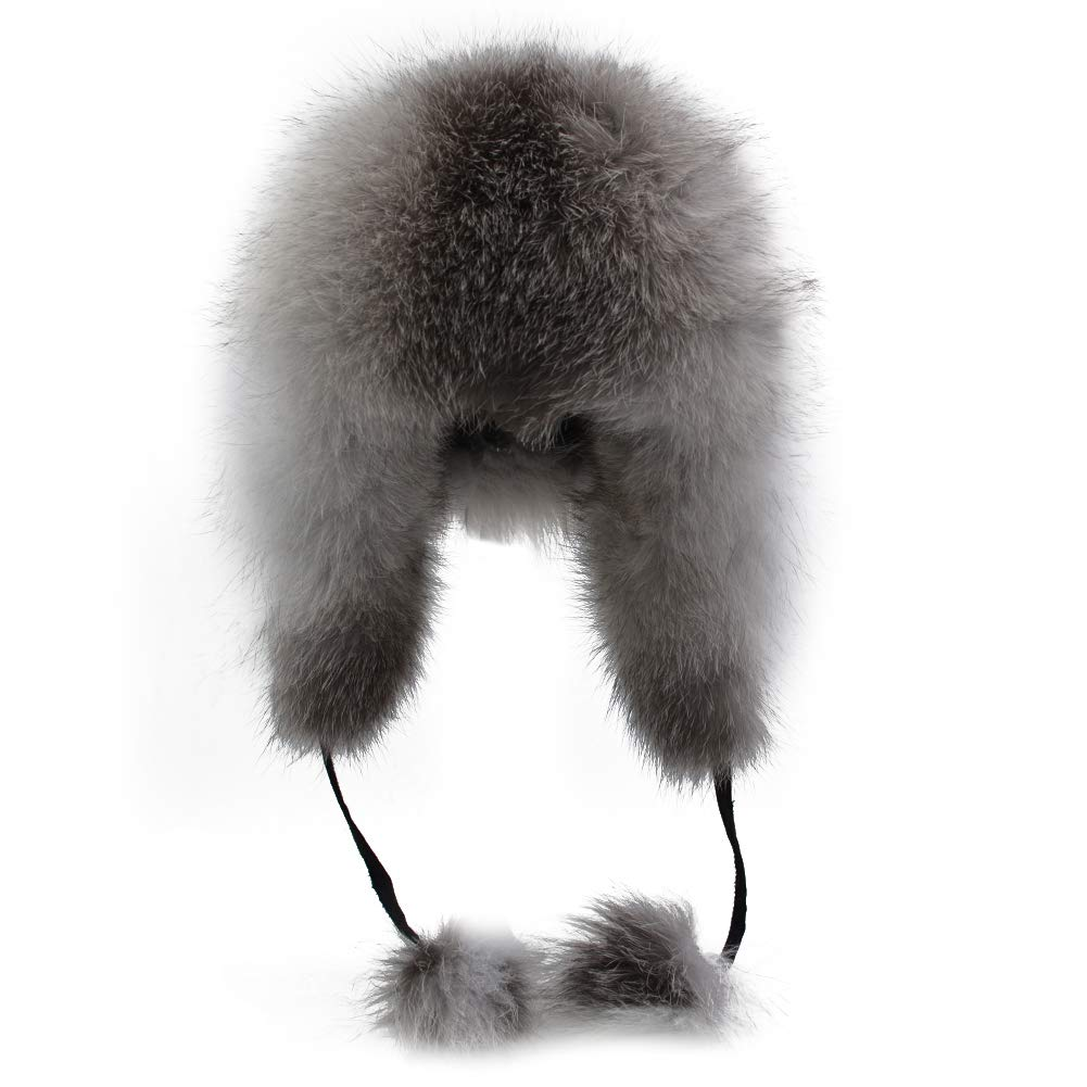 Sandy Ting Winter Fox Fur Trapper Hat Ushanka Russian Earflap Hunting Hat For Men and Women
