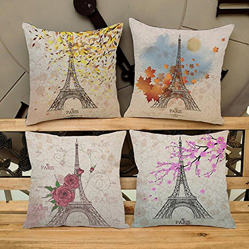Cotton Linen Square Throw Pillow Case Cushion Cover Pillowcase for Sofa Paris Eiffel Towel Stamp Printing 18x 18 (Pack of 2) (Le Sofa Paris)