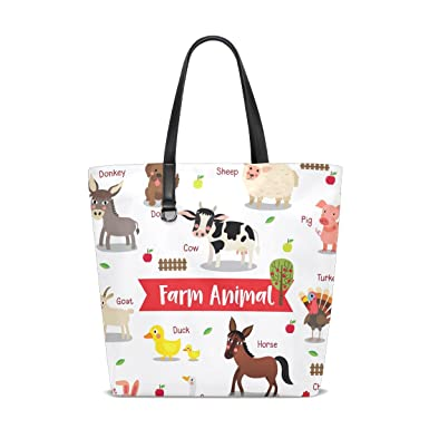 AHOMY Handbags for Women Donkey Dog Pig Horse Rabbit Tote Shoulder Bag Satchel