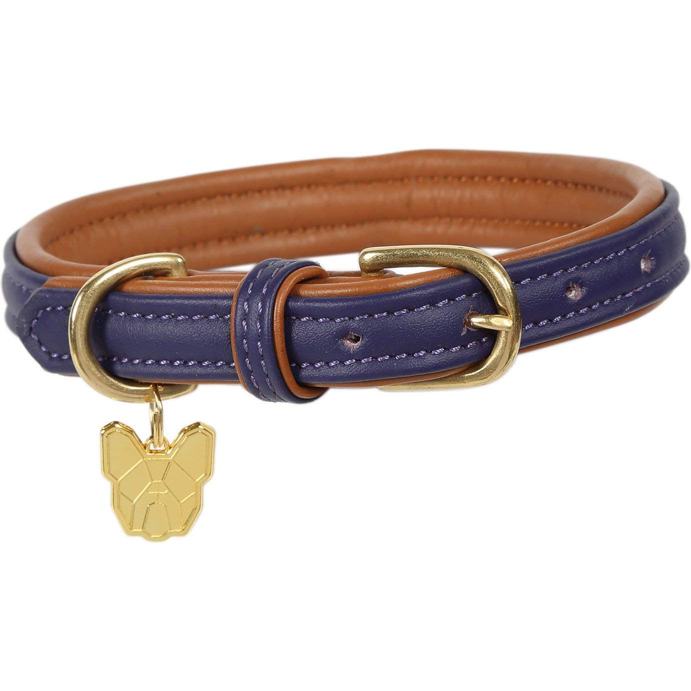 Shires Digby and Fox Padded Leather Dog Collar XX Large Purple