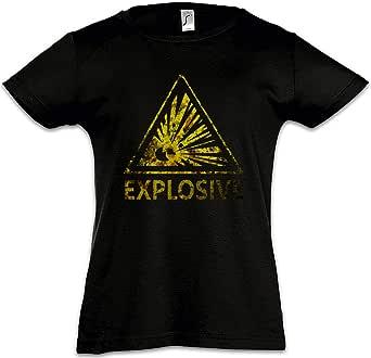 Urban Backwoods Caution Explosive Vintage Logo Sign Camiseta para Niñas Chicas niños T-Shirt Black