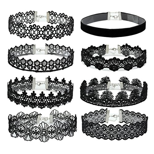 Eigso 8Pcs Gothic Tattoo Lace Choker Necklaces Set for Girls Women Adjustable Black Collar Choker