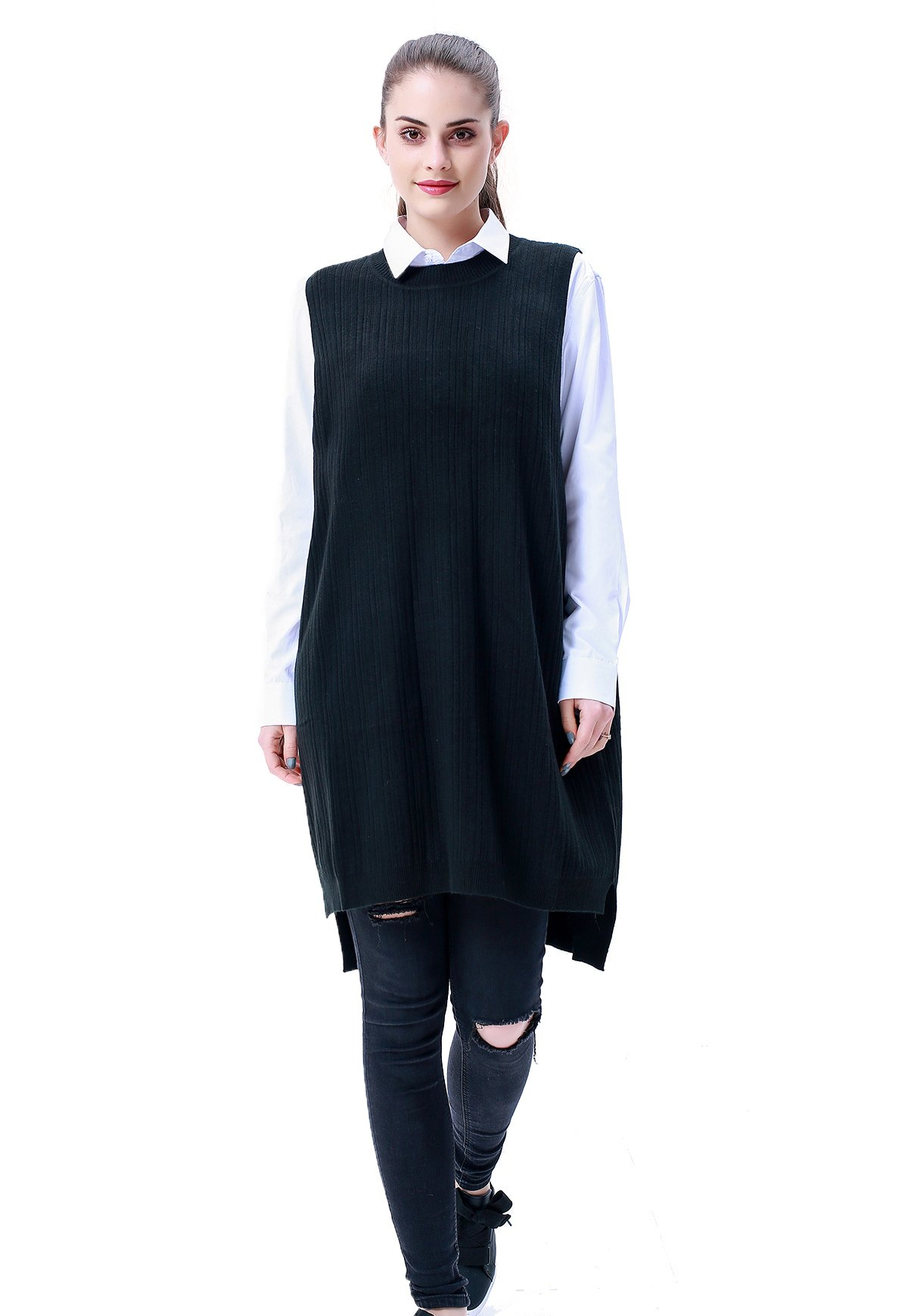MEEFUR Women's Soft Mix Match Dress Pullover Crewneck Spring Sleeveless Sweater Relaxed Fit Baggy Long Poncho Vests Black