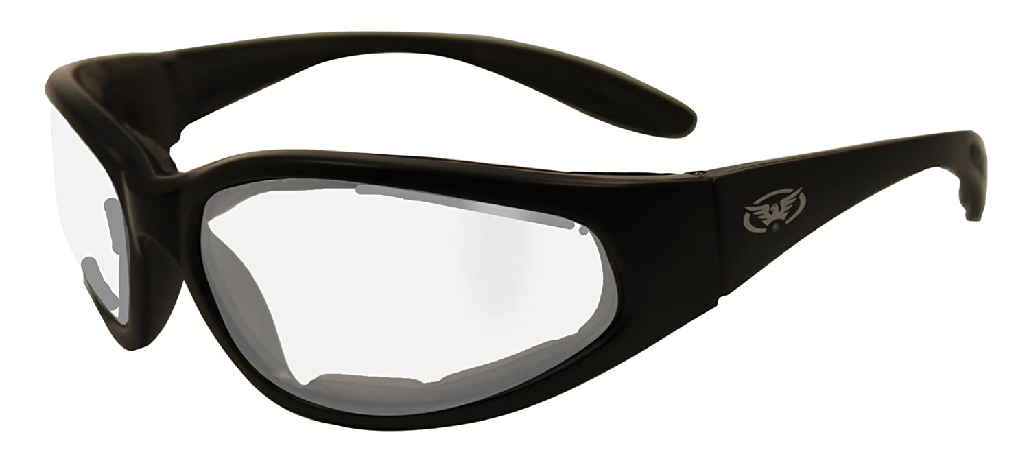 Clear motorcycle wraparound glasses with E.V.A foam lining and shatterproof anti fog lenses complete with free microfibre storage pouch. Global Vision