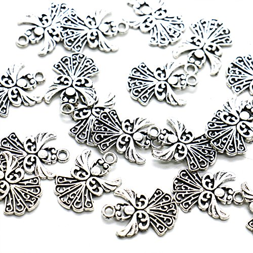 HUELE 50pcs Angel Charms Pendant, Tibetan Silver Guardian Angel for Jewelry Making, 20x14mm