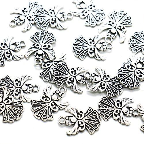 HUELE 50pcs Angel Charms Pendant, Tibetan Silver Guardian Angel for Jewelry Making, 20x14mm -