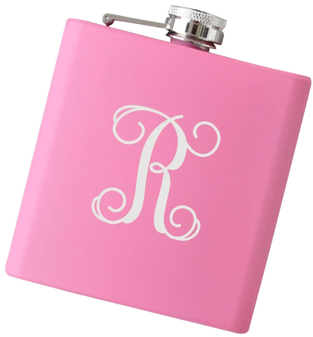 Personalized Script Initial Flask for Women, Custom 6 oz Stainless Steel Flask in Your Choice of Colors - F44