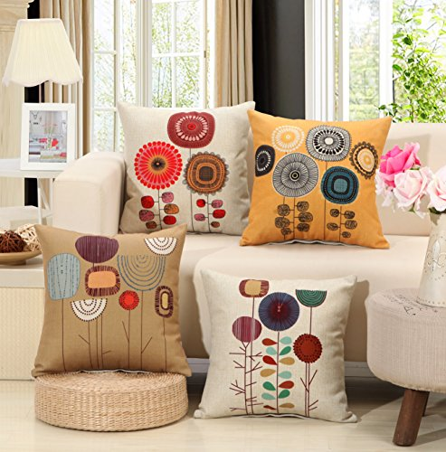 Interior design ideas. TongXi Cartoon Flowers Pattern Cushion Covers Decorative Throw Pillows For Sofa 18x18 inches Pack of 4