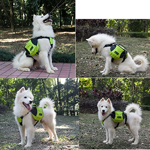 GrayCell Dog Pack Hound Travel Camping Hiking Backpack Saddle Bag for Small Medium Large Dogs (Green,L)