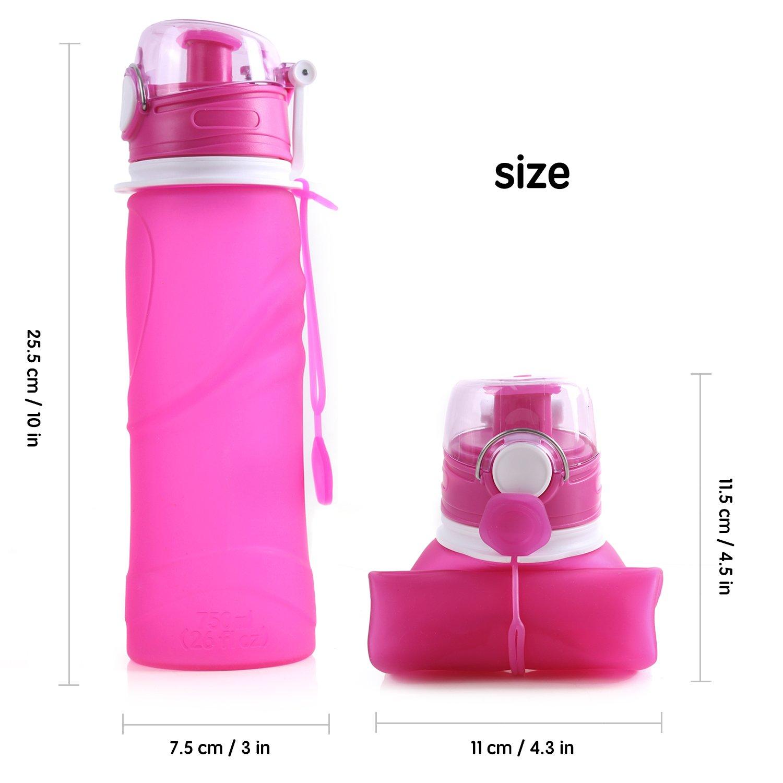 Unigear Botella de Agua Plegable, 750 ml 26oz Tapa Roscada ...