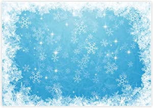 Allenjoy 7x5ft Ice Blue Winter Backdrop for Studio Photography 1st First Birthday Party Decoration Banner Festival White Snowflake Snowfall Christmas Background Baby Shower Kids Photo Booth Props