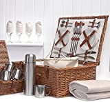 Fine Food Store Sandringham 4Person Luxury Wicker Picnic Basket with Accessories Ideal as Wedding/Birthday/Christmas Gift For Wife