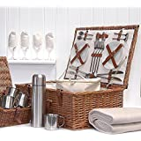 Fine Food Store Sandringham 4 Person Luxury Wicker Picnic Basket with Accessories Ideal as Wedding/Birthday For Wife