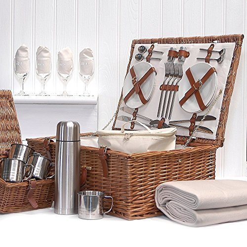 Deluxe Sandringham 4 Person Wicker Picnic Hamper Basket with Accessories - Luxury Christmas Xmas Wedding Anniversary Gifts, Birthday Presents for Her Women Mum
