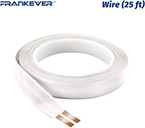 FRANKEVER Super Flat Speaker Wires/Cables,Self Adhesive Speaker Cables, 2 Pure Copper Conductors, DIY Audio Cable,23 Gauge AWG, 0.63 inch Wide x 25 ft. Long
