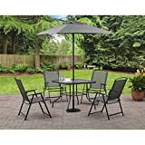 Mainstays Albany Lane 6 Piece Folding Dining Set (Includes Dining Table,  Folding Chairs And Umbrella) (Gray)