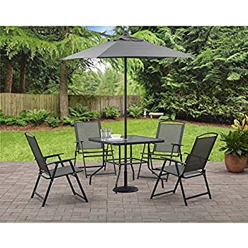 Awesome Mainstays Albany Lane 6 Piece Folding Dining Set (Includes Dining Table, Folding  Chairs And Umbrella) (Gray)