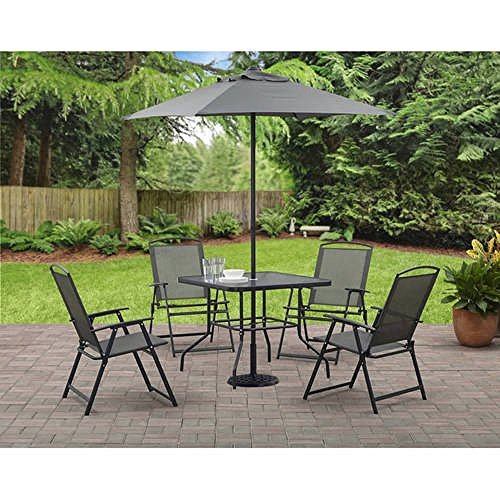 Mainstays Albany Lane 6-Piece Folding Dining Set (Includes Dining table, Folding chairs and Umbrella) (Gray) (Folding Furniture Set Patio Dining)