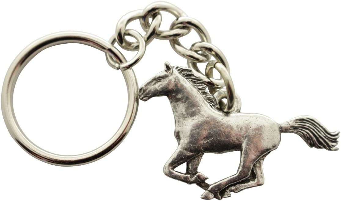 HORSE Mustang Fine Pewter Keychain Key Chain Ring USA Made